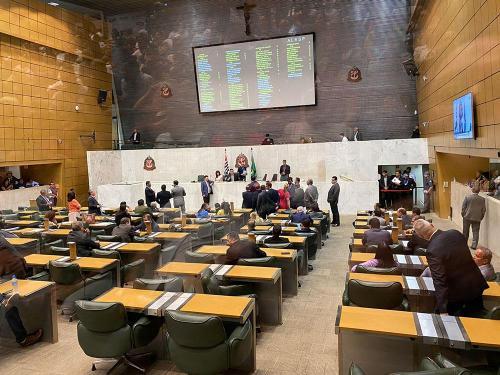 Plenário Juscelino Kubitschek, na Alesp, momentos antes da votação.